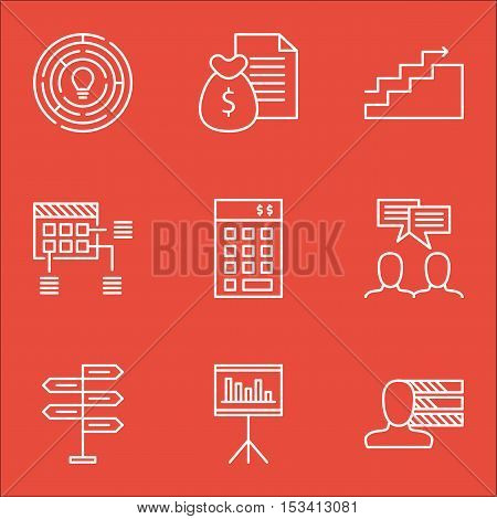 Set Of Project Management Icons On Personal Skills, Innovation And Report Topics. Editable Vector Il