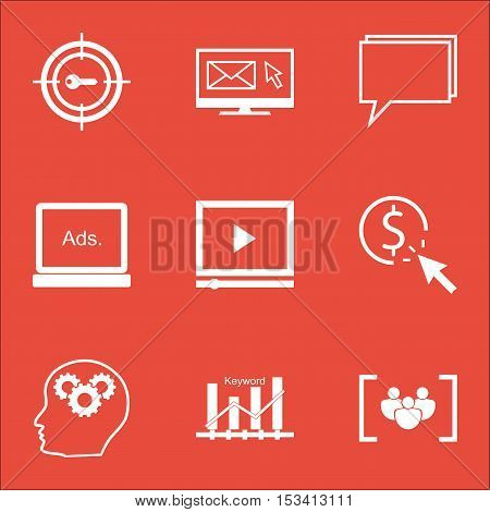 Set Of Seo Icons On Questionnaire, Newsletter And Ppc Topics. Editable Vector Illustration. Includes