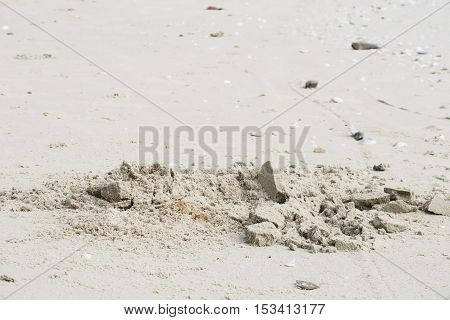 Foot print on sandy beach. Foot print in sand. Foot print beach background
