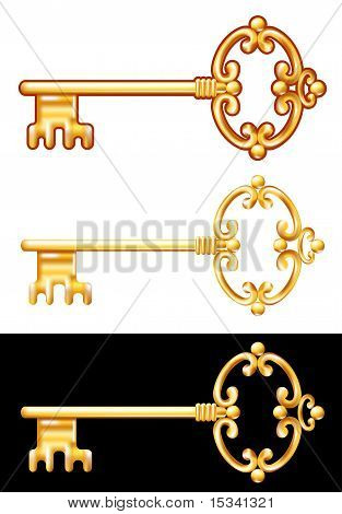 Golden Key. Vector Illustration.