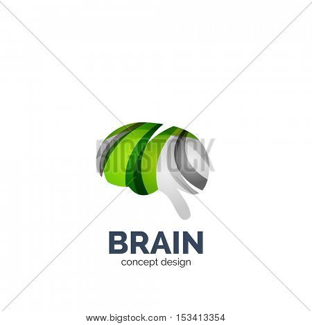 Vector brain logo template, elegant geometric design