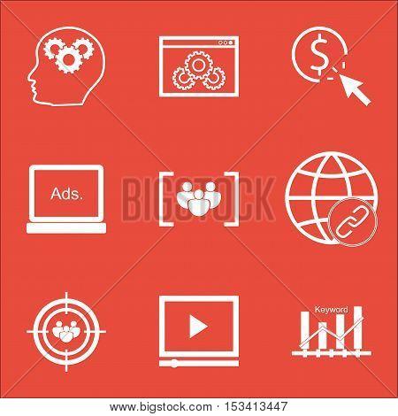 Set Of Advertising Icons On Keyword Optimisation, Focus Group And Website Performance Topics. Editab