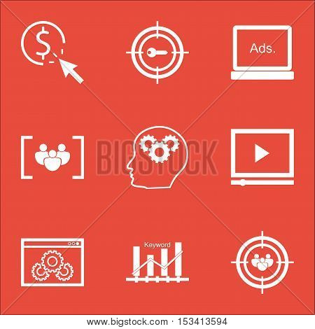 Set Of Marketing Icons On Digital Media, Brain Process And Questionnaire Topics. Editable Vector Ill