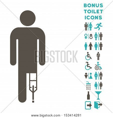 Patient Man icon and bonus male and female lavatory symbols. Vector illustration style is flat iconic bicolor symbols, grey and cyan colors, white background.
