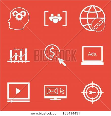 Set Of Advertising Icons On Questionnaire, Ppc And Digital Media Topics. Editable Vector Illustratio