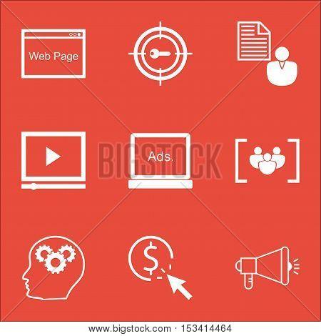 Set Of Seo Icons On Keyword Marketing, Video Player And Media Campaign Topics. Editable Vector Illus