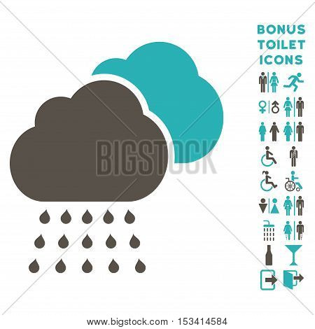 Rain Clouds icon and bonus man and lady restroom symbols. Vector illustration style is flat iconic bicolor symbols, grey and cyan colors, white background.