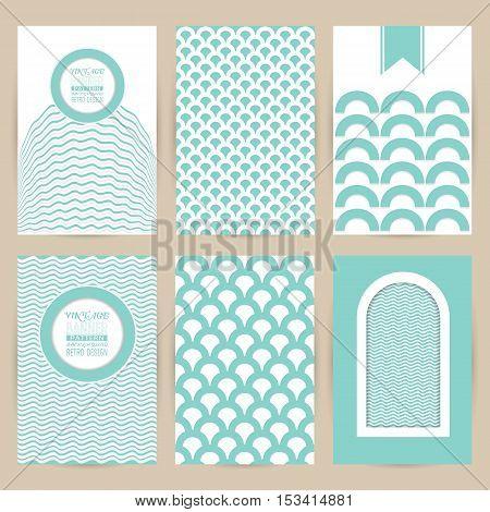 vector blue set of Vintage pattern background banners retro brochures templates cards six frames design on gray backgrounds