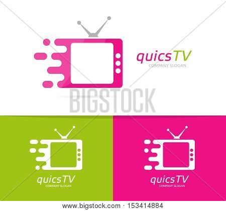 Vector fast television logo combination. Speed cinema symbol or icon. Unique movie and film logotype design template.
