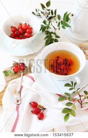 Rose hip tea and berries healthy extract