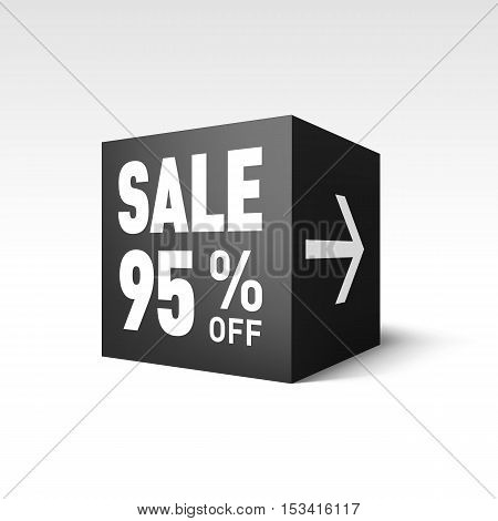 Black Cube Banner Template for Holiday Sale Event. Ninety-five Percent off Discount