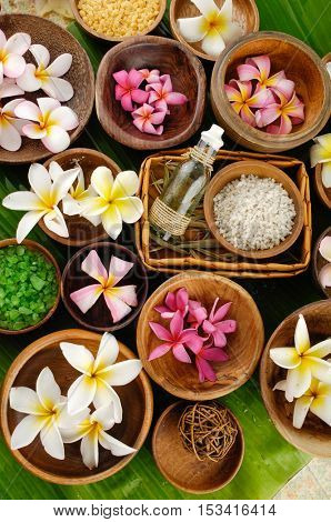 wooden bowl of color sea salt with , massage oil and frangipani, on banana leaf