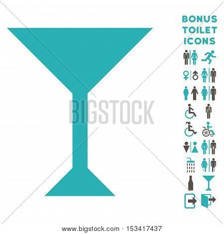 Wine Glass icon and bonus gentleman and female WC symbols. Vector illustration style is flat iconic bicolor symbols, grey and cyan colors, white background.