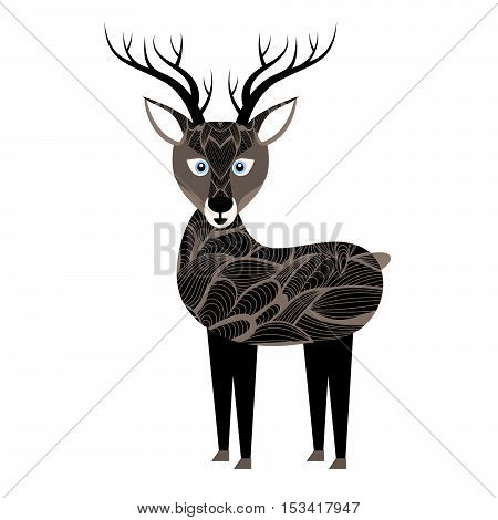 Deer isolated on a white background. Cartoon mammal. Wild animal. Fawn decorated doodle. Vector illustration eps10