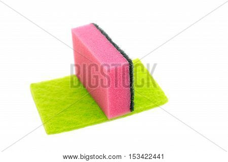 colored kitchen sponges isolated on white background