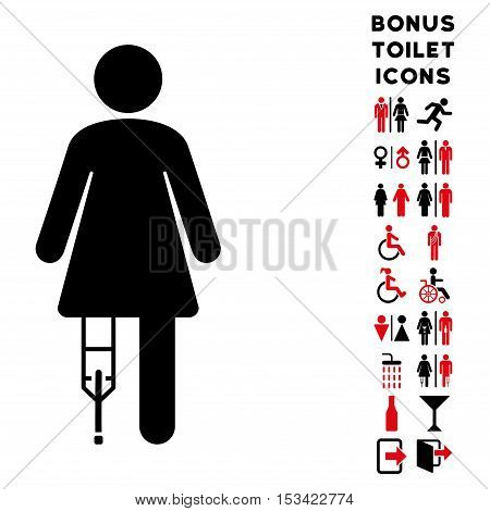 Patient Woman icon and bonus man and female toilet symbols. Vector illustration style is flat iconic bicolor symbols, intensive red and black colors, white background.