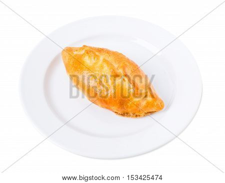 Delicious pie with cottage cheese. Isolated on a white background.