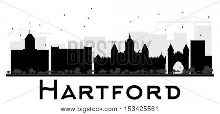 Hartford City skyline black and white silhouette. Simple flat concept for tourism presentation, banner, placard or web site. Business travel concept. Cityscape with landmarks