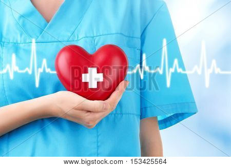 Cardiologist holding red heart with white cross. Cardiology concept.