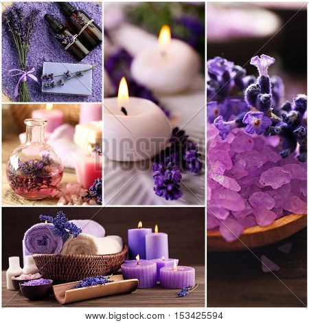 Collage of lavender spa. Beauty treatment concept.