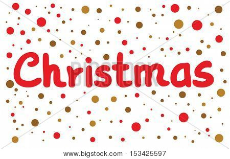Christmas lettering with color dots. Hand drawn design element.