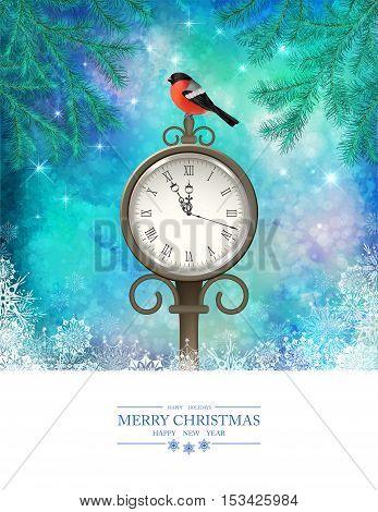 Vector Winter Christmas Scene. Xmas landscape with tree branches vintage outdoor clock bird bullfinch
