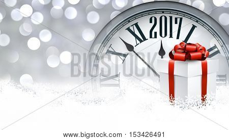 2017 New Year background with clock and gift. Vector illustration.