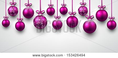 New Year white banner with pink Christmas balls. Vector illustration.