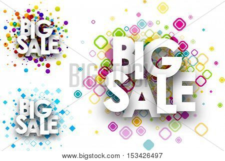 Big sale colour backgrounds set. Vector paper illustration.