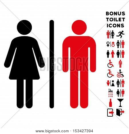 WC Persons icon and bonus gentleman and female lavatory symbols. Vector illustration style is flat iconic bicolor symbols, intensive red and black colors, white background.