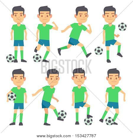 Soccer, football players playing ball set of vector flat characters. Forward defender and midfielder illustration