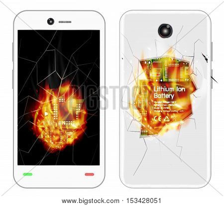 a broken smartphone explosion with burning fire