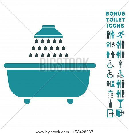 Bath Shower icon and bonus gentleman and lady lavatory symbols. Vector illustration style is flat iconic bicolor symbols, soft blue colors, white background.