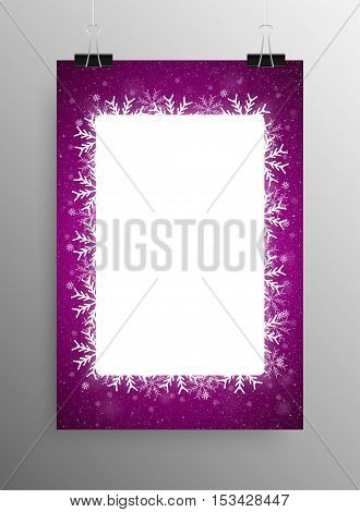 Vertical Poster Banner A4 Vector Paper Clips. Vector Rectangle Frame Snowflake. Falling Snow. White Winter Frame Purple Background. Winter Snowfall. Winter Holidays New Year and Merry Christmas.