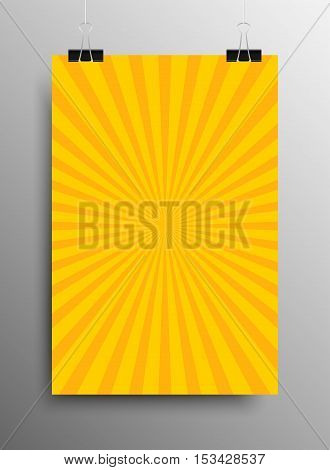 Vertical Poster Banner A4 Sized Vector Hanging With Paper Clips. Abstract Background Yellow Shining Sun-Rays. Yellow Rays. Vector illustration. Sun Rays.