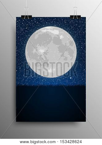 Vertical Poster Banner A4 Sized Vector Hanging With Paper Clips. Silhouette of grass of full moon on a background of the starry dark blue sky. Eps 10. Moon. Star. Night sky. Grass.
