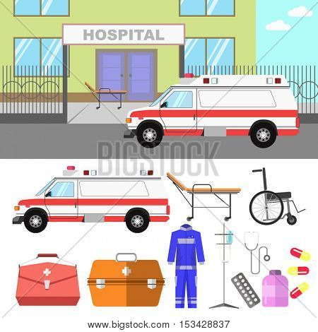 Medical illustration with hospital and ambulance car. Concept of emergency service with stethoscope and wheelchair. Flat style. Set of vector elements for design. Isolated on white background