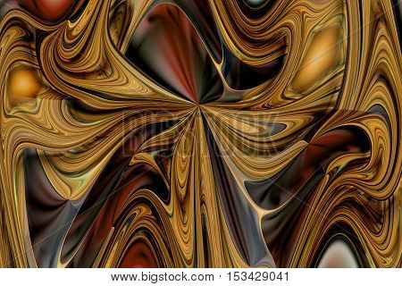Abstract colorful orange brown grey and black curls. Intricate fractal texture. Fantasy design for posters or greeting cards. Digital art. 3D rendering.