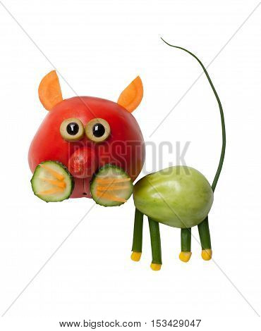Cat made of red and green tomato on white background