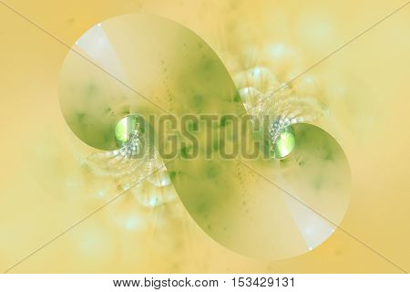 Abstract crystal swirly figures on light yellow background. Fantasy fractal design for wallpapers posters or t-shirts. Digital art. 3D rendering.