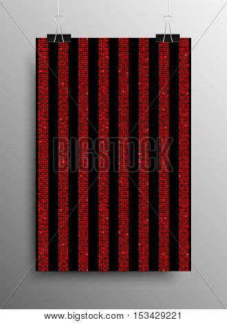 Vertical Poster Banner A4 Vector Paper Clips. Parallel Vertical Red Sequins Lines Black Background. Red Mosaic, Sequins, Glitter, Sparkle, Stars. Abstract Background.