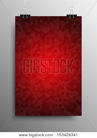 Vertical Poster Banner A4 Sized Vector Hanging With Paper Clips. Mosaic Tile Honeycomb Vector Background. Perspective Halftone Comb Fone. Red Background. Vector illustration for Web Design.