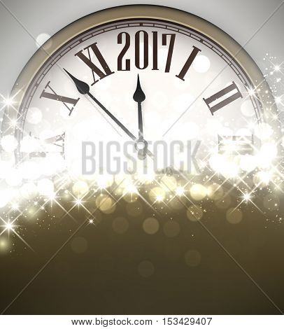 2017 New Year shining background with clock. Vector illustration.