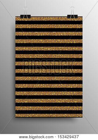 Vertical Poster Banner A4 Vector Paper Clips. Parallel Vertical Gold Sequins Lines Black Background. Golden Mosaic, Sequins, Glitter, Sparkle, Stars. Abstract Background.