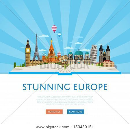 Welcome to Europe travel background. Europe travel landmark and famous travel place. World traveling concept flat vector illustration. Famous Europe buildings. Europen architecture in cartoon style. Europe. World travel background. Travel banners. Travel.