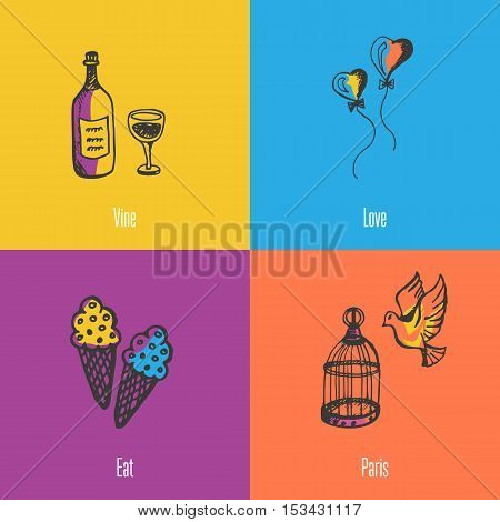 France national symbols. Bottle of vine, heart balloons, dove with cage, ice-cream colored hand drawn doodles vector icons with caption on colored backgrounds. France foods icons. Travel to France symbol concept. Discover France. Elements of ad France