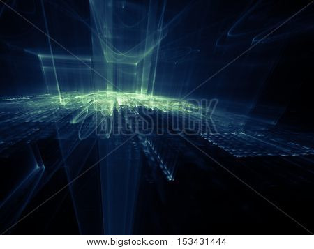 Abstract background element. Three-dimensional composition of wave shapes, grids and beams. Media information concept. Blue and black colors.