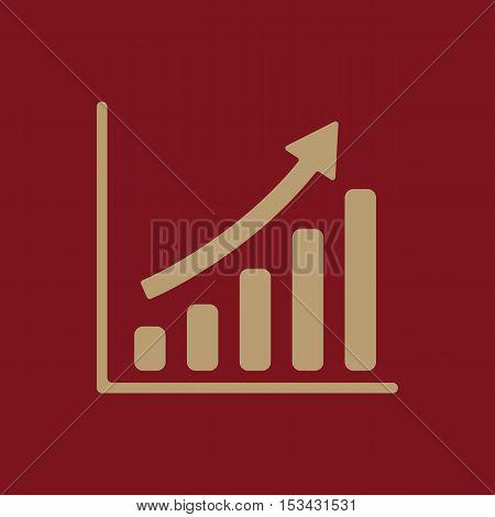 The growing graph icon. Progress symbol. Flat Vector illustration