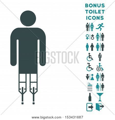 Man Crutches icon and bonus man and woman restroom symbols. Vector illustration style is flat iconic bicolor symbols, soft blue colors, white background.