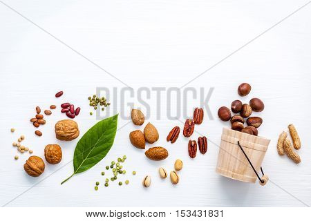 Different Kinds Of Nuts . Walnuts,almonds ,pecan ,pea Nuts, Pistachio, Pinto Beans ,red Kidney Beans